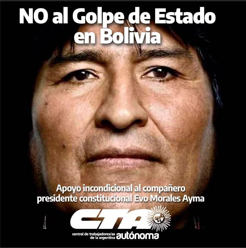 CTA Autónoma de Misiones repudia el Golpe de Estado consumado en Bolivia.